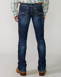 """Stetson Rock Fit Barbwire """"X"""" Stitched Jeans - Big & Tall, Med Wash, hi-res"""