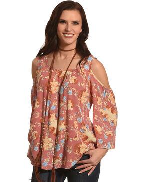 Luna Chix Women's Mauve Floral Cold Shoulder Top , Mauve, hi-res