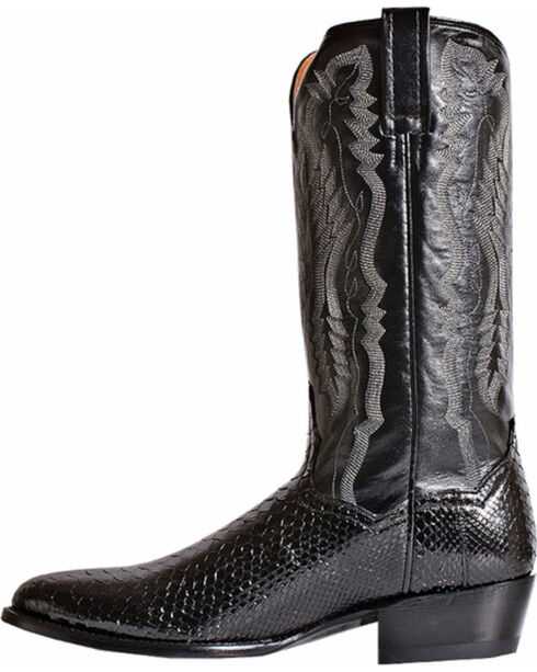 Dan Post Men's Omaha Python Cowboy Boots - Round Toe, Black, hi-res