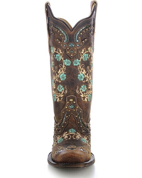 Corral Women's Studded Floral Embroidery Cowgirl Boots - Square Toe, Brown, hi-res