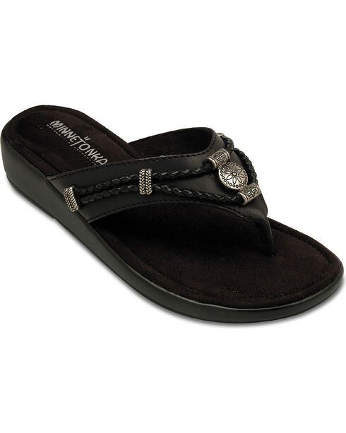 Minnetonka Silverthorne Wedge Sandals, Black, hi-res