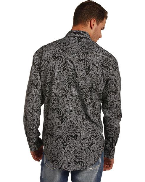 Rock & Roll Cowboy Men's Black Paisley Print Shirt , Black, hi-res