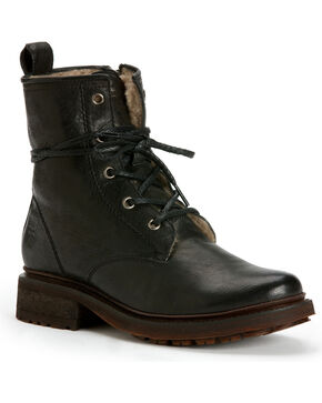 Frye Women's Valerie Lace-Up Shearling Ankle Boots, Black, hi-res
