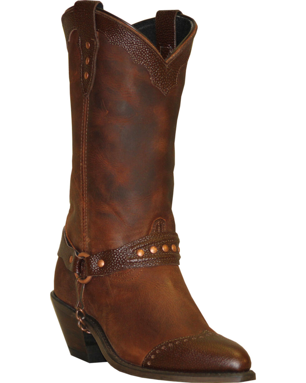 Abilene Sage Brown Sting Ray Wingtip Cowgirl Boots - Round Toe , Brown, hi-res