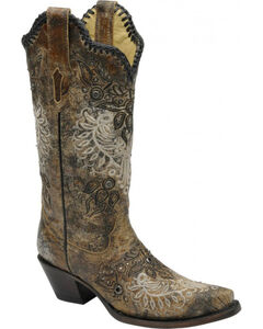 Corral Studded Whip Stitch Cowgirl Boots - Snip Toe, , hi-res