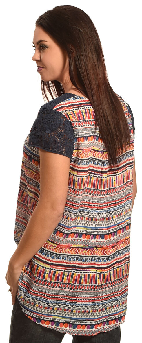 New Direction Sport Women's Navy Lace Sleeve Print Shirt , Multi, hi-res