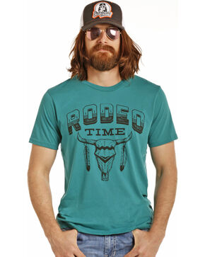 Rock & Roll Cowboy Men's Teal Dale Brisby Rodeo Time Tee , Teal, hi-res