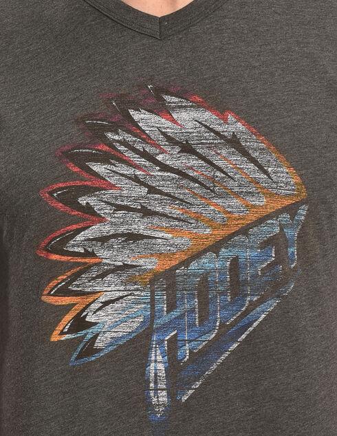 Hooey Men's Charcoal Indian Headdress V-Neck Tee, Grey, hi-res