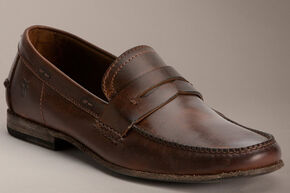 Frye Lewis Leather Penny Loafers, Dark Brown, hi-res