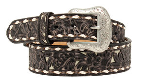 "Nocona 1 7/8""- 1 1/2"" Emobossed Overlay Belt, Black, hi-res"
