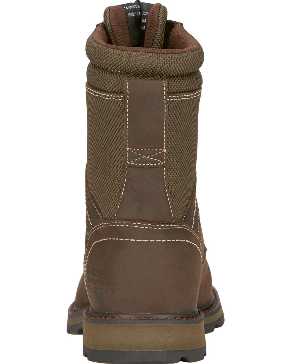 "Ariat Men's 8"" Groundbreaker Waterproof Work Boots - Steel Toe, Dark Brown, hi-res"