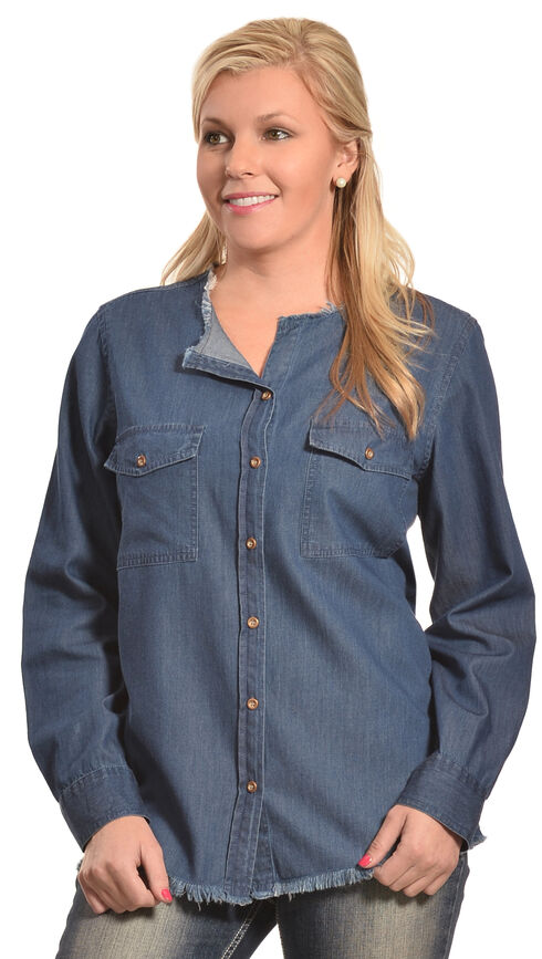 New Direction Women's Frayed Edge Denim Shirt , Indigo, hi-res