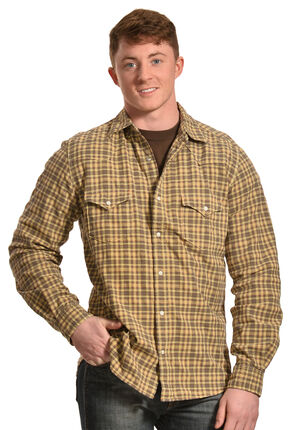 Ryan Michael Men's Dobby Plaid Shirt, Goldenrod, hi-res