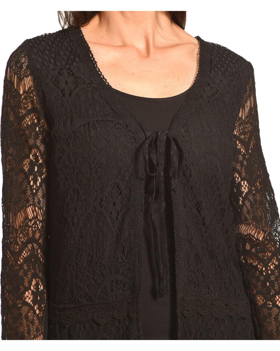 Young Essence Women's Black Lace Cardigan, Black, hi-res