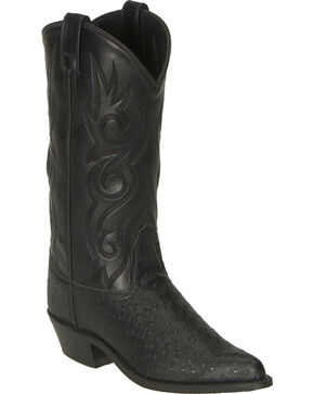 Old West Fancy Stitched Ostrich Print Cowboy Boots - Pointed Toe, Black, hi-res