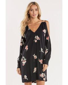 Miss Me Women's Black Glamour Garden Cold-Shoulder Dress  , Black, hi-res