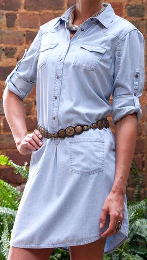 Ryan Michael Women's Cotton Silk Chambray Shirt Dress, Med Blue, hi-res
