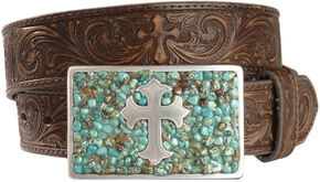 Nocona Cross Buckle Leather Belt, Brown, hi-res