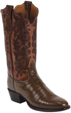 Tony Lama Whiskey Hand-Tooled Signature Series Nile Crocodile Western Boots - Square Toe , Whiskey, hi-res