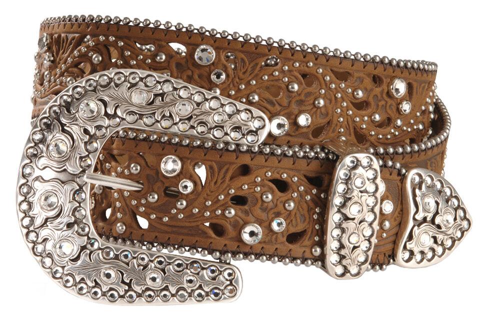Justin Palazzo Bling Leather Belt, Aged Bark, hi-res