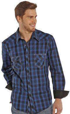 Rock and Roll Cowboy Blue and Black Poplin Western Snap Shirt , Plaid, hi-res