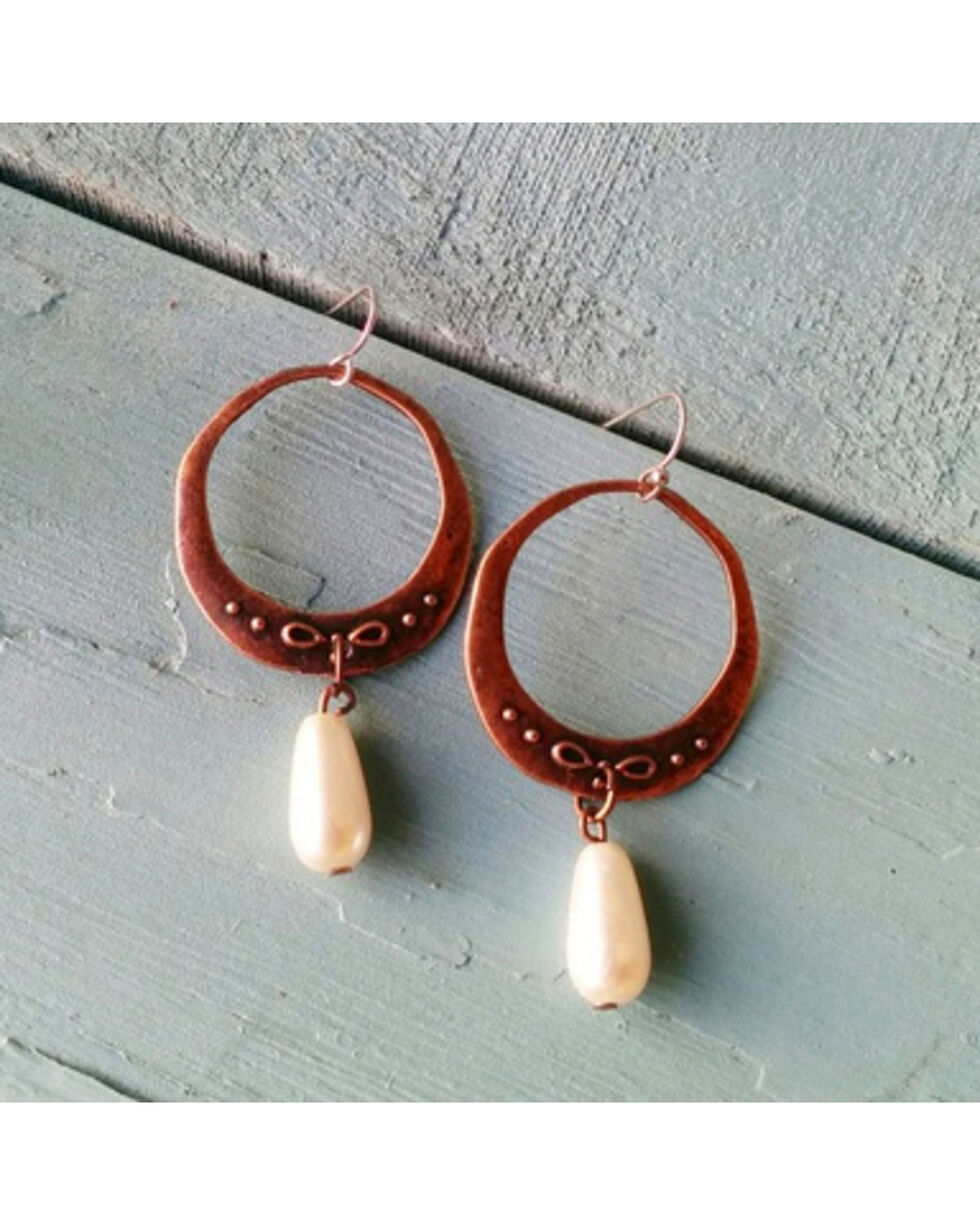 Jewelry Junkie Copper & Pearl Dangle Earrings, Multi, hi-res