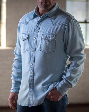 Ryan Michael Men's Chambray Tencel Pick Stitch Shirt, Blue, hi-res