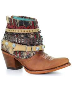 Corral Womens Honey Studded & Woven Harness Ankle Boots - Pointed Toe, Honey,  hi