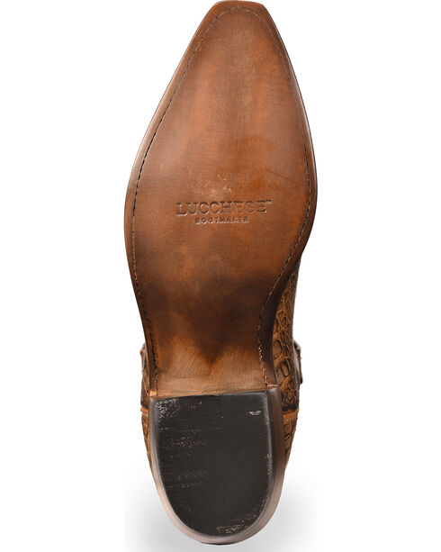 Lucchese Men's Walter Hornback Caiman Western Boots - Snip Toe , Tan, hi-res
