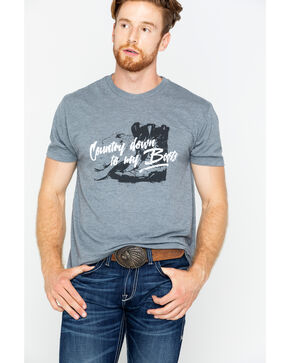 Cody James Country Down To My Boots Short Sleeve T-Shirt, Grey, hi-res