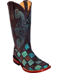 Ferrini Women's Black Patchwork Cowgirl Boots - Square Toe, , hi-res