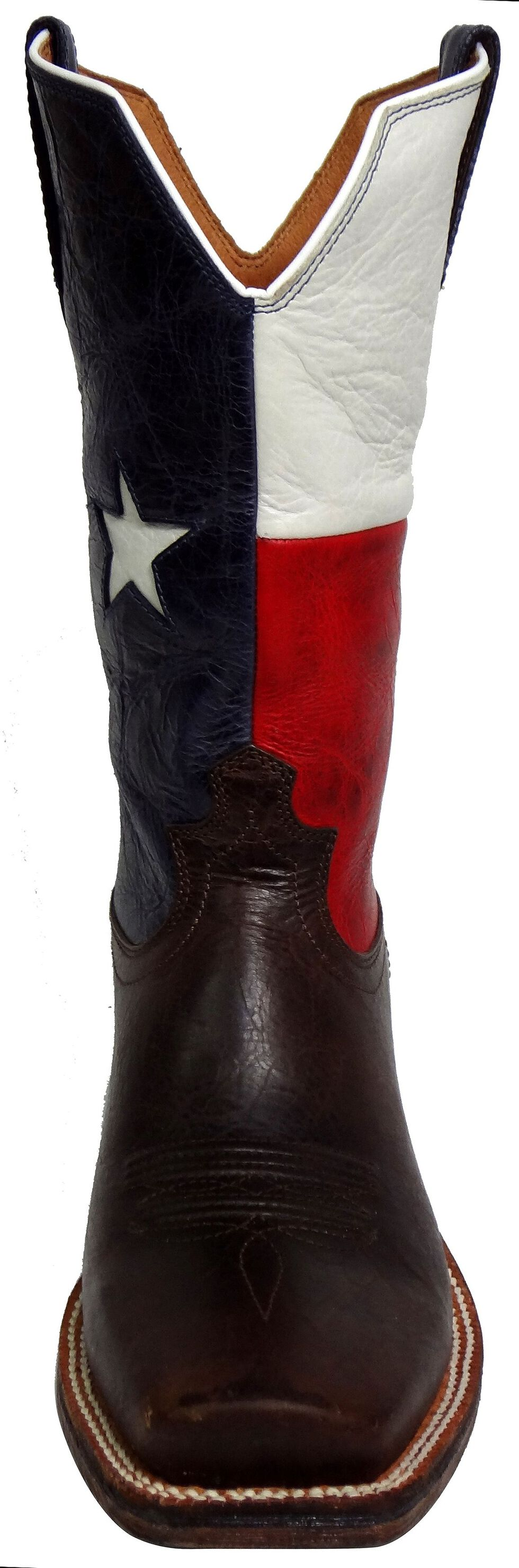 Twisted X Red River Texas Flag Cowboy Boots - Square Toe, Chocolate, hi-res