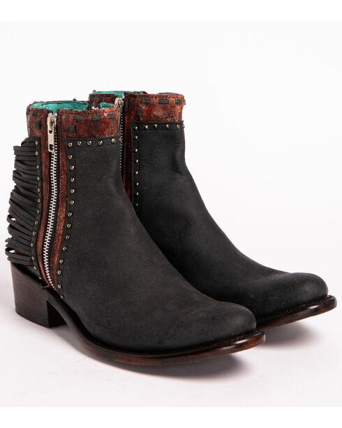 Corral Women's Black Zipper and Studs Short Boots - Round Toe , Black, hi-res