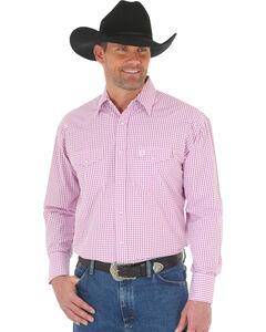 Wrangler George Strait Men's Poplin Plaid Snap Shirt, Magenta, hi-res