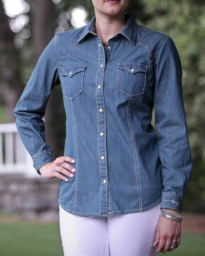 Ryan Michael Women's Denim Dot Print Shirt, Denim, hi-res