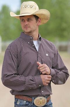 Cinch Men's Cream Mini Print Long Sleeve Shirt , Cream, hi-res