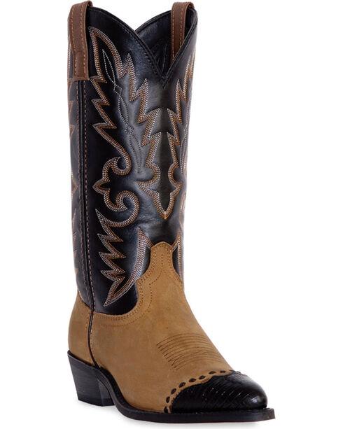 Laredo Lizard Print Wingtip Cowboy Boots, Distressed, hi-res