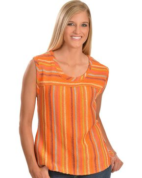 Cowgirl Up Orange Sleeveless Striped Top, Multi, hi-res