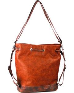 Treska Orange Tooled Drawstring Bucket Bag , Orange, hi-res