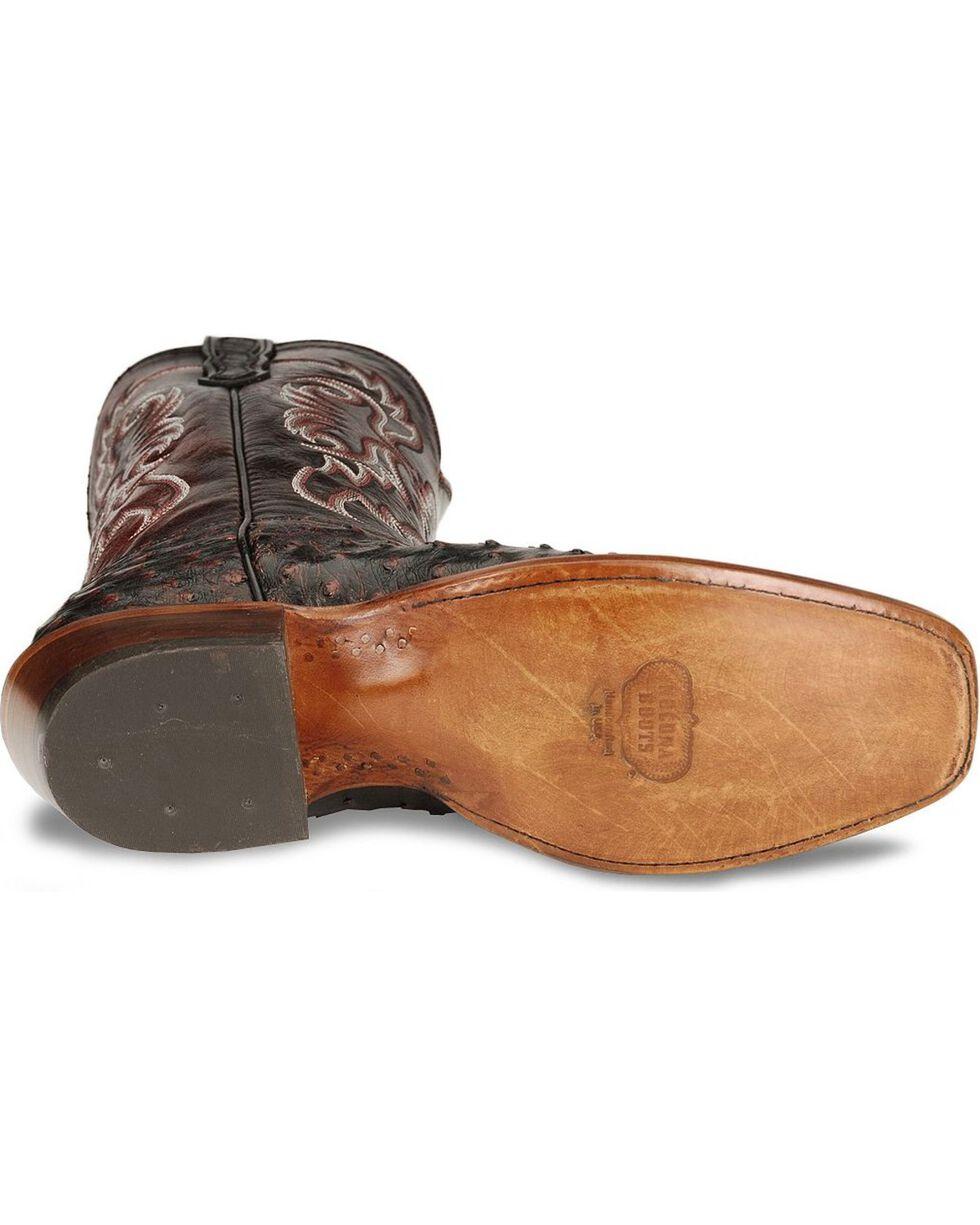 Nocona Men's Black Cherry Full Quill Ostrich Boots - Sq Toe, Black Cherry, hi-res