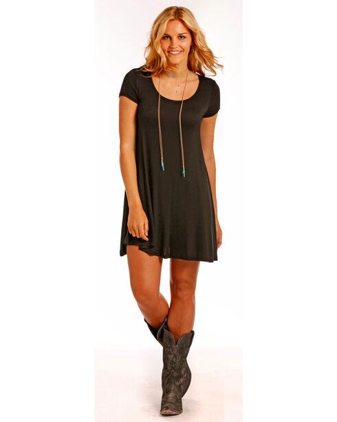 Panhandle Women's Flared Hem Cap Sleeve Dress, Black, hi-res