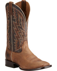 Ariat Men's Ranchero Rebound Brown Cowboy Boots - Square Toe, Brown, hi-res