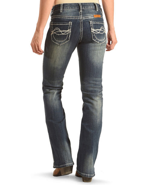 Cowgirl Tuff Women's Blue Barbed Wire Stitch Jeans - Boot Cut , , hi-res