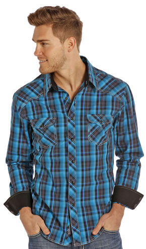 Rock and Roll Cowboy Men's Teal and Black Plaid Snap Western Shirt , Black, hi-res