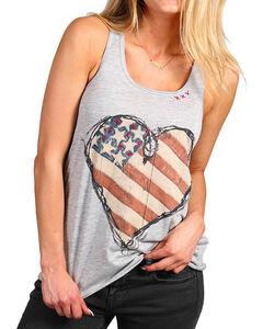 Bohemian Cowgirl Women's Flag Heart Racer Back Tank  , Grey, hi-res