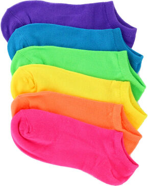 K.Bell Women's Solid Neon Ankle Socks - 6 Pack , Multi, hi-res