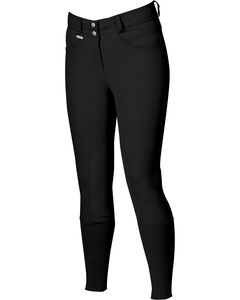 Dublin Active Slender Euro Seat Front Zip Breeches - Black, , hi-res