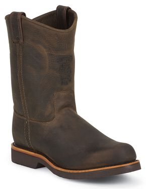 Chippewa Pull-On Work Boots - Steel Toe, Chocolate, hi-res