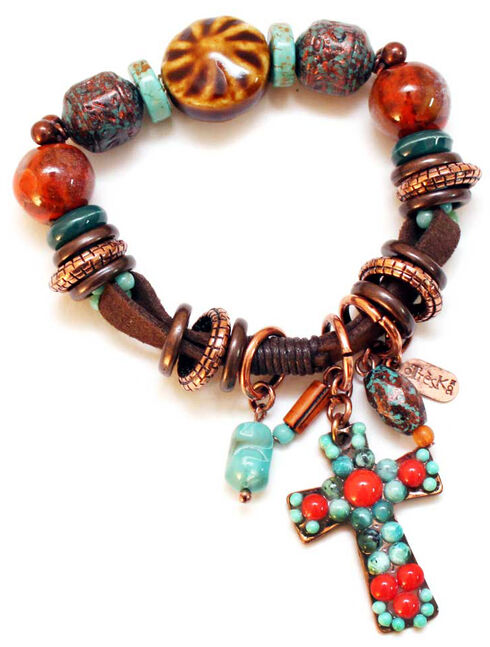 Treska Women's Santa Fe Beaded Bracelet with Fob , Multi, hi-res