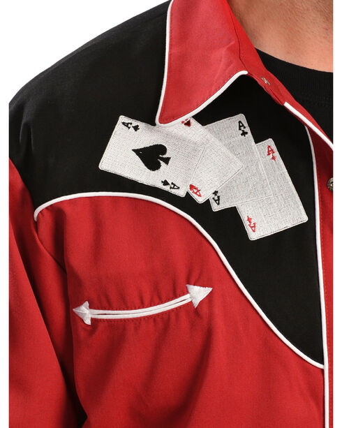 Scully Poker Cards Embroidery Retro Western Shirt, , hi-res